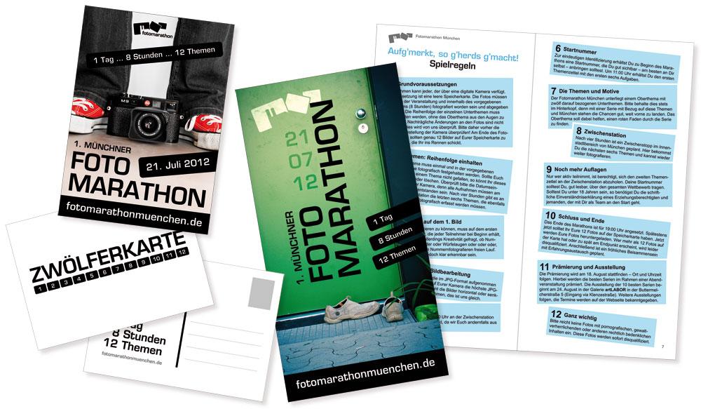 Gestaltung Flyer, Postkarte und Broschüre Fotomarathon München
