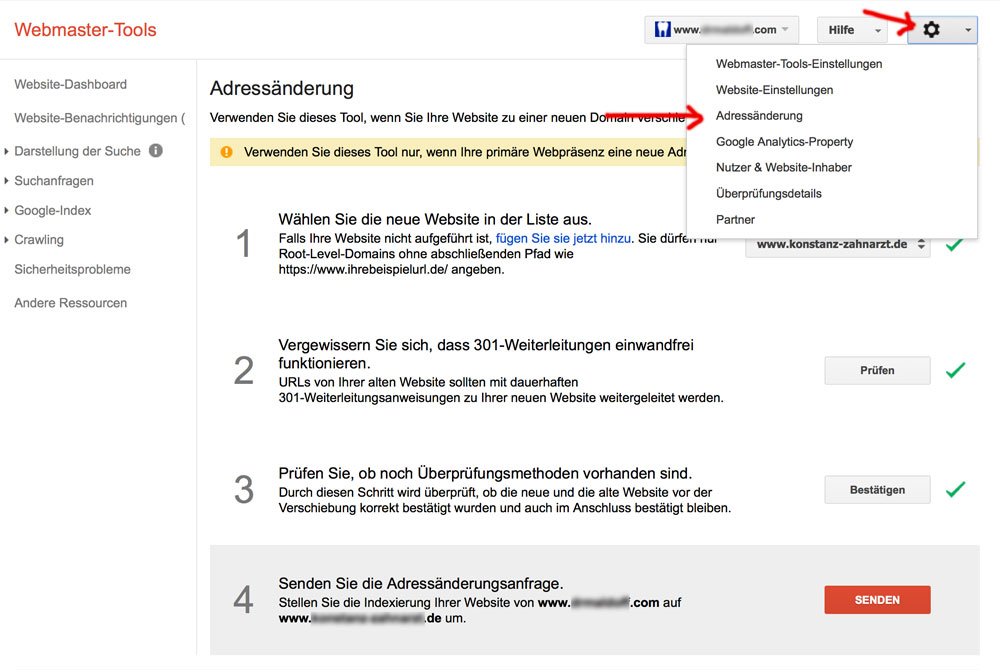 Domainumzug in den Google Webmastertools