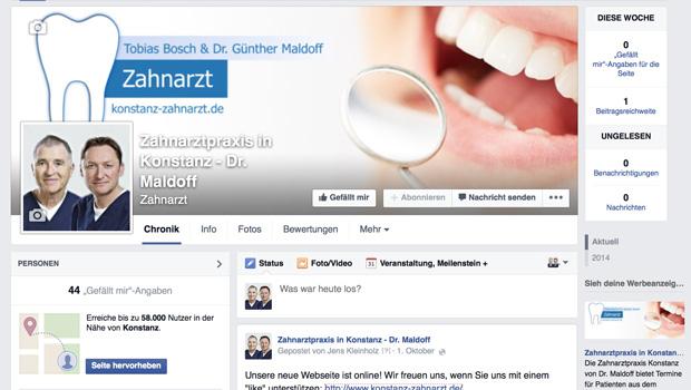 Zahnarztpraxis auf Facebook