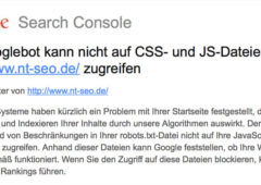 Google Warnmeldung robots.txt