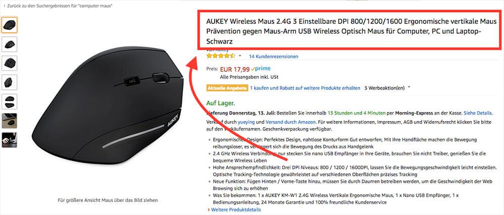 Anders als bei Google kann man auf Amazon mit einem überlangen Titel durchaus punkten und möglichst viele Keywords abdecken (Quelle: Aukey Produktseite auf Amazon).
